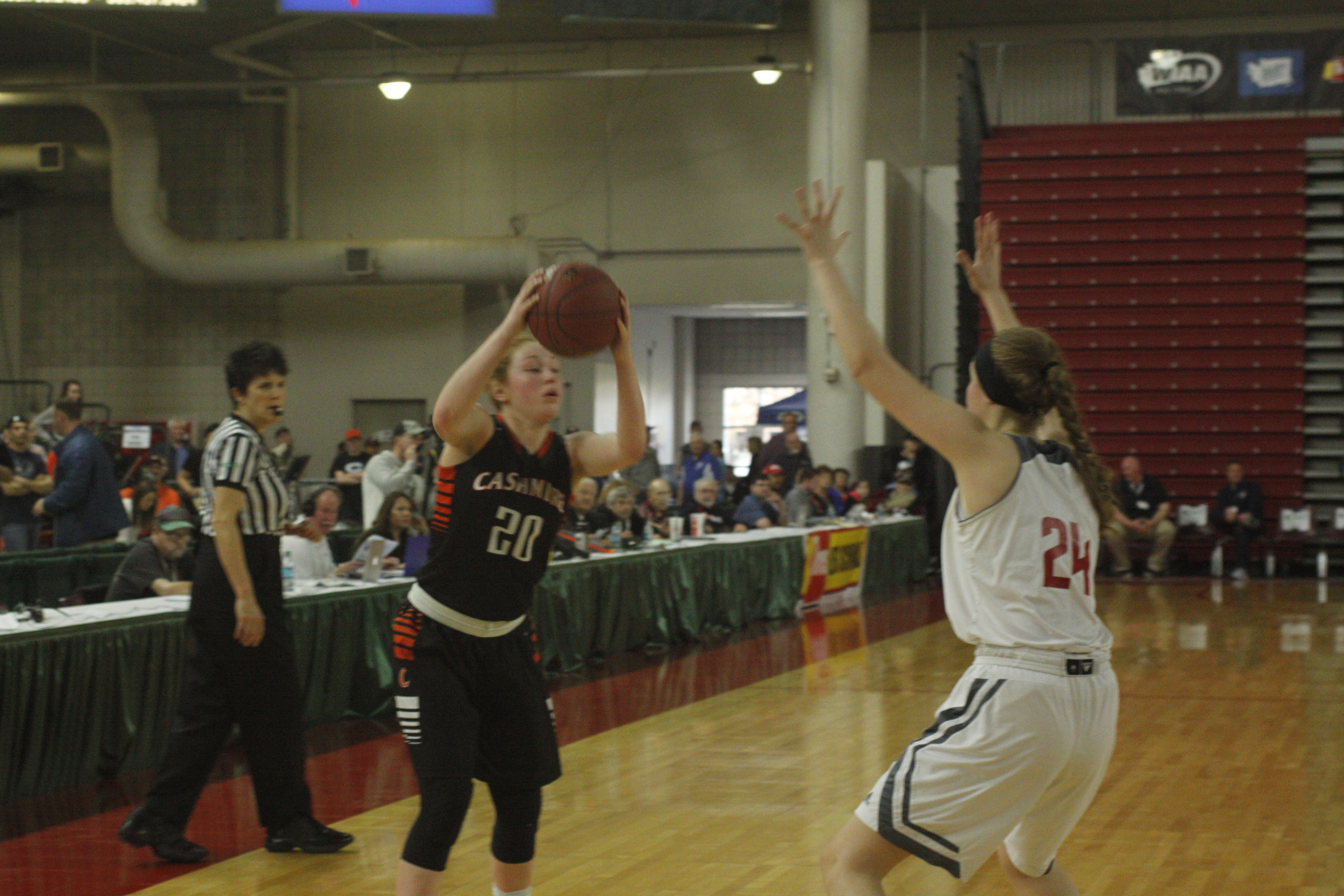 Knishka, looking to pass in the game against Mount Baker on Saturday, March 4. Cashmere lost the last game 45-44.